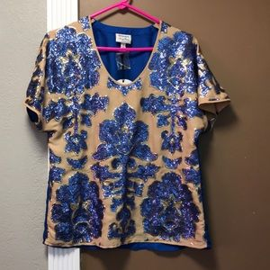 Tracy Reese sequin floral top